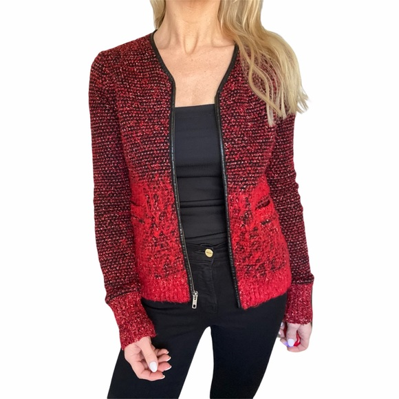 The Kooples Womens Satin Viscose Embroidered Jacket red